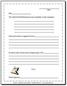 Free Missing Homework Letter! When your students don't turn in homework, have them write a letter to their parents to explain why AND what they plan to do about the problem.