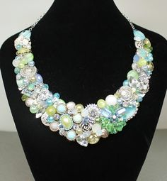 Add vintage romance to your wedding day with this Chartruse statement necklace. This is such a fun one! Made with:    * Teardrop and Marquise