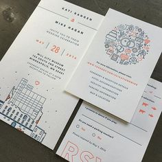 So in love with this beautiful modern wedding invitation suite. Love the simplicity of the typography and illustration. Very striking.