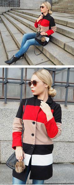 Stylish Black Long Sleeve Color Block Coat For Women Coats & Outerwears, shein.com