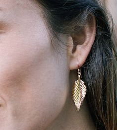 Fern Gold Plated Earrings by Good Looking Objects on Scoutmob