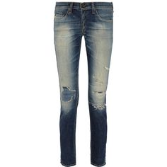 Rag & bone The Dre distressed mid-rise slim boyfriend jeans ($165) ❤ liked on Polyvore featuring jeans, mid denim, button-fly jeans, faded blue jeans, distressed boyfriend jeans, slim fit jeans and slim jeans