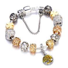 Charm Bracelets 2019 Latest Design Cuteeco Simple Crown Beads Crystal Charm Bracelets For Women Jewelry Fit Brand Bracelets Bangles