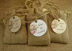 Birdseed Wedding Favors In Natural Burlap Bags by glassactsupply