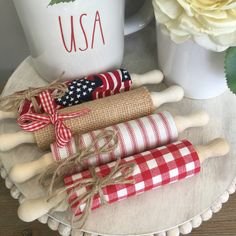 Patriotic of July tiered tray mini rolling pins - NEW! Patriotic Crafts, Patriotic Decorations, July Crafts, Holiday Crafts, Lemon Crafts, Wood Block Crafts, Fourth Of July Decor, Wood Bead Garland, Craft Show Ideas