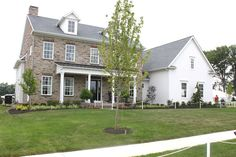 stone, brick, board and batten, The Fat Hydrangea: Parade of Homes - House White Exterior Houses, White Houses, Old Stone Houses, Old Houses, Farm Houses, Beach Cottage Kitchens, Farmhouse Addition, House Tweaking, Farmhouse Remodel