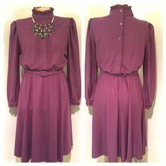 Vintage plum dress, choker collar. Size M/L No tag, but I'd have to guess late 70's-early 80's. Sheer-use slip! I am obsessed with the the back of this dress!! Love these buttons! Vintage Dresses
