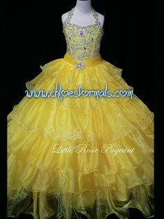 LITTLE ROSIE PAGEANT DRESS LR2023 YELLOW SIZE 8