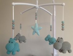 probably wouldn't use it in a baby mobile, but for a baby toy maybe? Crochet Baby Mobiles, Crochet Mobile, Crochet Baby Toys, Crochet For Kids, Diy Crochet, Baby Knitting, Sweet Home Design, Baby Crib Mobile, Baby Kind