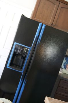 painting a fridge! they used chalkboard paint, but perhaps would work with acrylic/latex paint in general?  or does the grout mix-in matter?