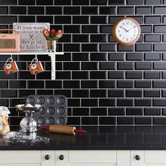 Mini Metro Black Wall Tile