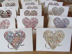 carte félicitation mariage en papier découpé en coeur