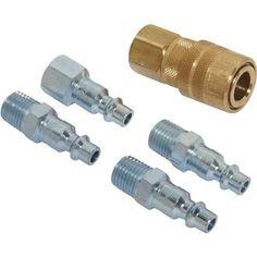 5 Piece M-Style Coupler & Plug Kit, Silver