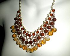 Vintage Copper and Czech Glass Bead Cascading Bib by gallery122