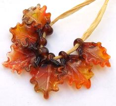 Lampwork Glass Leaves for Jewelry Making, Autumn LeavesSet of 6 leaf beads in warm shades of Brown and Orange, Made to OrderAutumn Leaves Jewelry Making Tutorials, Jewelry Making Beads, Romantic Nature, Floral Necklace, Gems Jewelry, Unique Necklaces, Leather Jewelry, Glass Beads, Nature Inspired