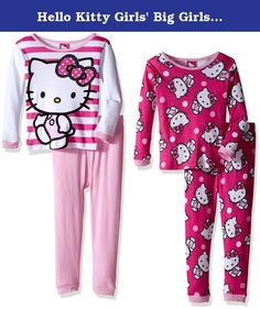 Hello Kitty Girls' Big Girls' 4-Piece Cotton Pajama Set, White/Pink, 8. Snuggle up with Hello Kitty in these cozy cotton sleepwear sets The bright colors and fun graphics are sure to light up her face the next time she gets ready for bed. Perfect for sleeping and lounging.
