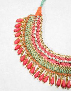Coloured bead and thread necklace - Jewellery - Bershka Ukraine