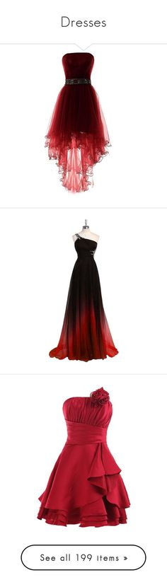 """Dresses"" by bluwolf751 ❤ liked on Polyvore featuring dresses, gowns, short front long back dress, red ball gown, short homecoming dresses, homecoming dresses, high low evening dresses, long dress, beaded long evening dresses and prom ball gowns #homecomingdresses"