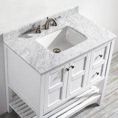 Vinnova Florence 36 Inch White Mirrorless Single Vanity With Carrara Marble Top