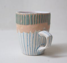 Peach Sage and Turquoise Pinchy Stripey Espresso by Keramikka