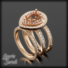 Rose Gold Pear Cut Engagement Ring Semi Mount with Two Diamond Wedding Bands