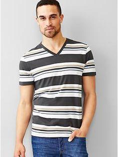 Essential multi-stripe V-neck t-shirt