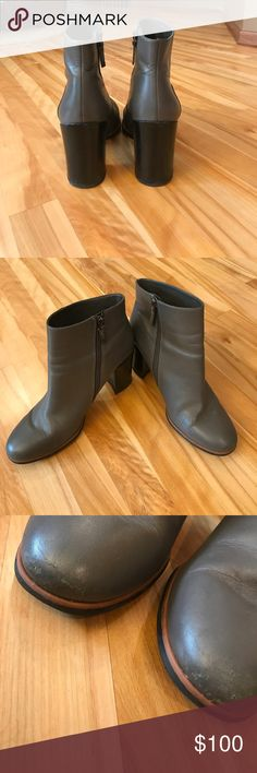 Gray Heeled Ankle Booties gray heeled zip up booties, worn multiple times, signs of wear on tip of shoe and shown in the last picture - not noticeable when wearing - approximately 4 inches Franco Sarto Shoes Heeled Boots