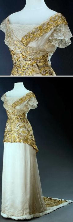 Evening dress, L. a H.Laufer, Vienna, ca. 1913. Silk atlas. Photo: Kocourek Ondřej, Urbánek Gabriel. Museum of Decorative Arts, Prague, via eSbirky.cz by enid
