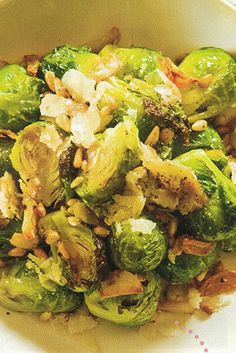 Olive oil and garlic-roasted Brussels sprouts
