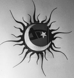 Meh... Tattoo - Sun for the top of my foot. In VIBRANT Red's Orange's & Yellow's. Not crazy about this one but along these lines. Like the moon & Star inlay.