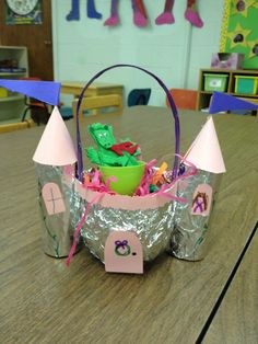 We are finishing up our Fairy Tale Unit this week. I wanted to make Easter Baskets that were Fairy Tale related. I found a castle Easter...