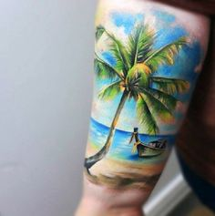 Beach tattoo on the arm. The design looks serene and magical with the boat resting on the shore as if depicting a scene from a castaway story.