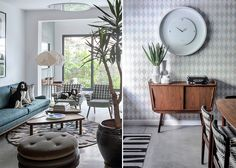 מימין: שידת העץ מול הדלת, על רקע טפט מעוינים, ומעליה שעון גדול; משמאל: הכלבים רובצים על הספה הירקרקה-תכולה ואחת הכורסאות ( צילום: עוזי פורת )