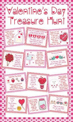 💌Looking for a kid approved activity for your Valentine's Day party? Every kid LOVES doing a treasure hunt! Send the kids searching 🔍 all around the 🏠 with these clever Valentine's themed clues. Hide candy or another surprise with each clue or just at the very end. 💘Instant Digital Download Indoor Valentine's Day Treasure Hunt Clue Printables Including: 💌12 Indoor Valentine's Day Treasure Hunt Clues 💘12 Blank Valentine's Day Template if you would