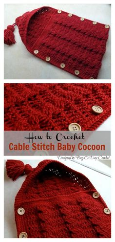 Crochet Cable Stitch Newborn Baby Bunting Cocoon Video Tutorial The Hooded Sleep Sack Free Crochet Pattern is a great on the go project and perfect for beginners. It is unique and one of a kind and so much fun. Crochet Baby Cocoon Pattern, Crochet Baby Blanket Beginner, Free Crochet, Free Knitting, Crochet For Baby, Crochet Bunting Free Pattern, Crochet Newborn Blanket, Knitting Ideas, Baby Bunting