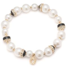 Anne Klein 8 MM, 10 MM Simulated  Strand Goldtone Bracelet (990 UAH) ❤ liked on Polyvore featuring jewelry, pearl, pearl jewelry, gold tone jewelry, polish jewelry, imitation jewellery and fake jewelry