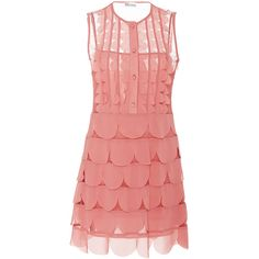 Red Valentino     Scallop Detail Dress (1 195 AUD) ❤ liked on Polyvore featuring dresses, pink, georgette dress, pink dress, scallop trim dress, red valentino dress and pink red dress