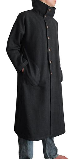 Sawan Men's ChomThong Hand Woven Cotton Loose High Neck Coat Black