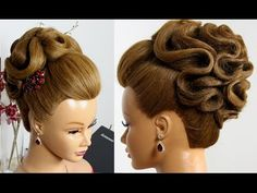 Bridal hairstyle for long hair tutorial. Wedding prom updo - YouTube