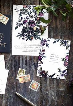 dark, romantic floral wedding invitations and save the dates | design by hello tenfold
