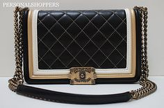 Stunning Boy Chanel Quilted Leather Flap Bag Black White Gold Combination