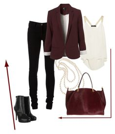 burgundy by madelienemerrick on Polyvore featuring polyvore fashion style Elizabeth and James Ann Demeulemeester AllSaints Maiyet Cezanne women's clothing women's fashion women female woman misses juniors pearl necklaces leather booties burgundy blazer