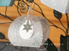 This beautiful Christmas luminary was created in vellum using the Curvy Keepsake Box Thinlits Dies.  This one is stamped with the Endless Wishes snowflakes and VersaMark ink then heat embossed with silver embossing powder and finished with a snowflake embellishment.  www.creativestamping.co.nz | Stampin' Up! | Holiday Catalogue