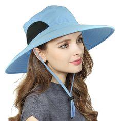 3235f539537 Womens Waterproof Sun Hat- UV Protection Wide Brim Bucket Mesh Boonie Hat  Adjustable Fishing Cap - Blue - CC189ZU87NW