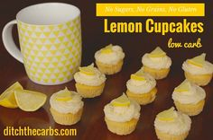 No sugars, no grains, gluten free, healthy simple recipe. These mini cupcakes are brilliant when you only want a bite size piece of cake and are incredibly low in carbs. Desserts Keto, Sugar Free Desserts, Sugar Free Recipes, Low Carb Recipes, Plated Desserts, Baking Desserts, Vegan Recipes, Low Carb Cupcakes, Lemon Cupcakes
