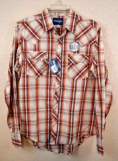 $17.99! 505 off retail! WRANGLER MVG062M EASY CARE MENS SHIRT Western LONG SLEEVE Cowboy Rodeo NWT SMALL #wrangler #Western
