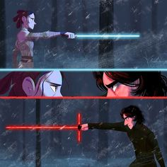 Details of Rey facing off against Kylo. What side are you on?