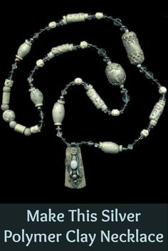 You'll love making the above silver polymer clay necklace and 4 other polymer clay jewelry projects in this FREE ebook! #clayjewelry #diyjewelry #jewelrymaking
