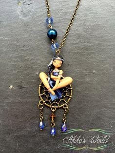 Collier chibi amérindienne bleu et turquoise  par AkikosWorld