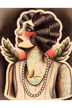 Love her. Traditional tattoo flash.